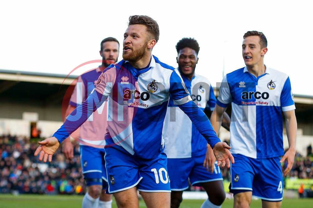 Matt Taylor of Bristol Rovers celebrates scoring a goal to make it 0-1 - Photo mandatory by-line: Rogan Thomson/JMP - 07966 386802 - 29/04/2015 - SPORT - FOOTBALL - Nailsworth, England - The New Lawn - Forest Green Rovers v Bristol Rovers - Vanarama Conference Premier - Playoff Semi Final 1st Leg.