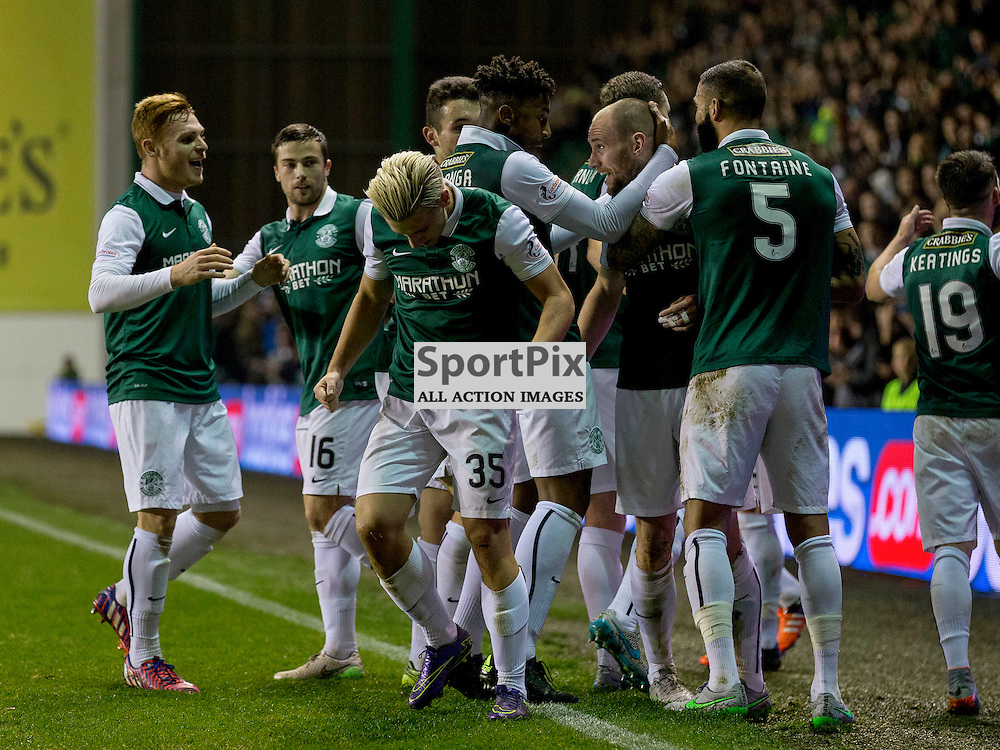 Hibernian FC v Dundee Utd FC<br /> <br /> David Gray (celebrates opening goal Hibernian captain) celewduring the Quarter Final of the Scottish League Cup match between Hibernian and Dundee Utd FC at Easter Road Stadium on Wednesday 4 November 2015.<br /> <br /> <br /> Picture Alan Rennie.
