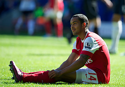 BOLTON, ENGLAND - Easter Sunday, April 24, 2011: Arsenal's Theo Walcott looks dejected during the Premiership match against Bolton Wanderers at the Reebok Stadium. (Photo by David Rawcliffe/Propaganda)