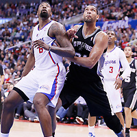 18 February 2014: San Antonio Spurs power forward Tim Duncan (21) vies for the rebound with Los Angeles Clippers center DeAndre Jordan (6) during the San Antonio Spurs 113-103 victory over the Los Angeles Clippers at the Staples Center, Los Angeles, California, USA.