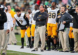 Nov 25, 2017; Huntington, WV, USA; Southern Miss Golden Eagles head coach Jay Hopson stands along the sidelines during the third quarter against the Marshall Thundering Herd at Joan C. Edwards Stadium. Mandatory Credit: Ben Queen-USA TODAY Sports