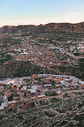 The Tunisian town of Toujane at sunset.