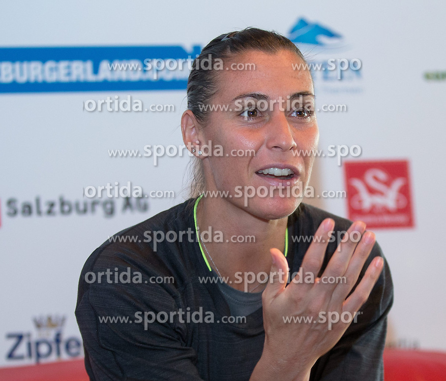 07.07.2014, Hotel Europaeischer Hof, Bad Gastein, AUT, WTA Tour, Nuernberger Gastein Ladies 2014, Tag 1, Pressekonferenz, im Bild Flavia Pennetta (ITA) // Flavia Pennetta of Italy during press conference of Nuernberger Gastein ladies tennis tournament of the WTA Tour at the Hotel Europaeischer Hof in Bad Gastein, Austria on 2014/07/07. EXPA Pictures © 2014, PhotoCredit: EXPA/ Johann Groder