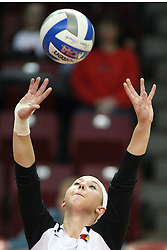 02 November 2012:  Kaitlyn Early sets the ball during an NCAA womens volleyball match between the Missouri State Bears and the Illinois State Redbirds at Redbird Arena in Normal IL