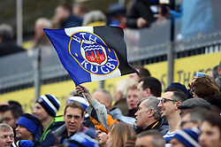 A Bath fan in the crowd waves a flag in support - Mandatory byline: Patrick Khachfe/JMP - 07966 386802 - 30/12/2018 - RUGBY UNION - The Recreation Ground - London, England - Bath Rugby v Leicester Tigers - Gallagher Premiership Rugby