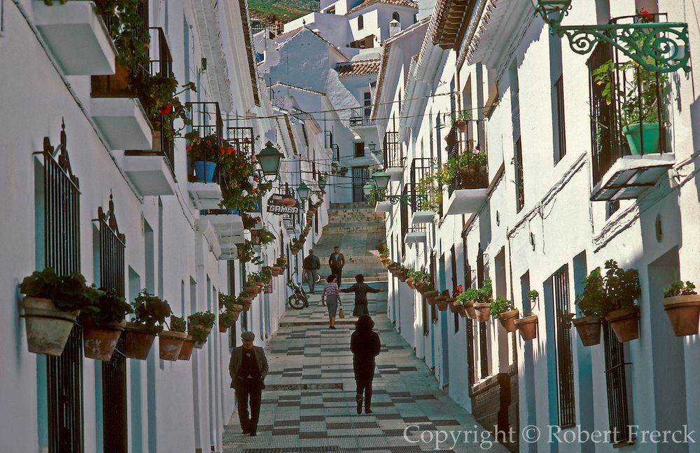 SPAIN, ANDALUSIA MIJAS; a beautiful 'pueblo blanco' or white village and tourism destination above Torremolinos on the Costa del Sol
