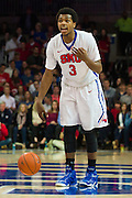 DALLAS, TX - FEBRUARY 19: Sterling Brown #3 of the SMU Mustangs brings the ball up court against the Temple Owls on February 19, 2015 at Moody Coliseum in Dallas, Texas.  (Photo by Cooper Neill/Getty Images) *** Local Caption *** Sterling Brown