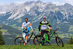 04.08.2016, Bikepark, Schladming, AUT, OeSV, Nordische Kombination, Mountainbike, Fototermin, im Bild Lukas Klapfer, David Pommer // Lukas Klapfer, David Pommer during a Photoshooting of Austrian Nordic Combined Team at the Bikepark, Schladming, Austria on 2016/08/04. EXPA Pictures © 2016, PhotoCredit: EXPA/ Dominik Angerer