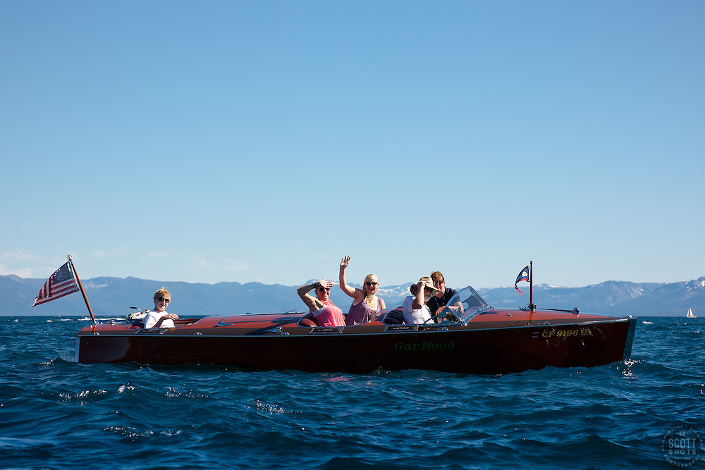 """Gar Wood on Lake Tahoe 1"" - This classic wooden Gar Wood boat was photographed on Lake Tahoe during the 2011 Concours d'Elegance."