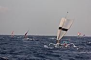 Indonesia , traditional fishermen boat  sailing on Lombok sea