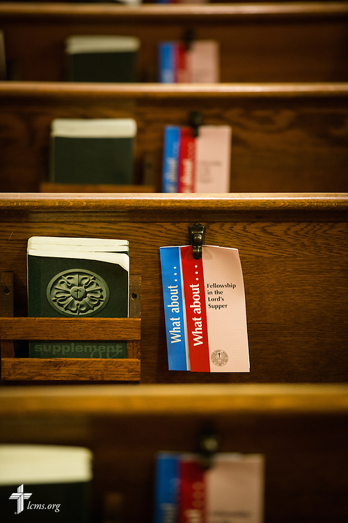 Brochures adorn the pews during Divine Service at Trinity Lutheran Church on Wednesday, July 15, 2015, in Danville, Ill. LCMS Communications/Erik M. Lunsford