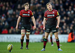 Saracens replacement (#22) Owen Farrell lines up a penalty kick  attempt during the second half of the match - Photo mandatory by-line: Rogan Thomson/JMP - Tel: Mobile: 07966 386802 30/12/2012 - SPORT - RUGBY - stadiummk - Milton Keynes. Saracens v Northampton Saints - Aviva Premiership.