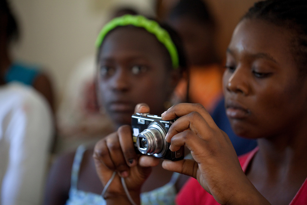 Kids in a photo workshop in Jacmel, Haiti