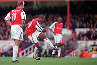 Dennis Bergkamp looks on as Ashley Cole shoots past Nicky Weaver for the 1st Arsenal goal. Arsenal v Manchester City, F.A.Carling Premiership, 28/10/2000. Credit Colorsport / Paul Roberts