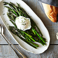 Roasted Asparagus Poached Egg Lemon Mustard Sauce