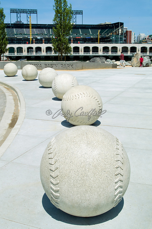 China Basin park, baseball sculptures. AT&T Baseball Park (rear) San Francisco, CA