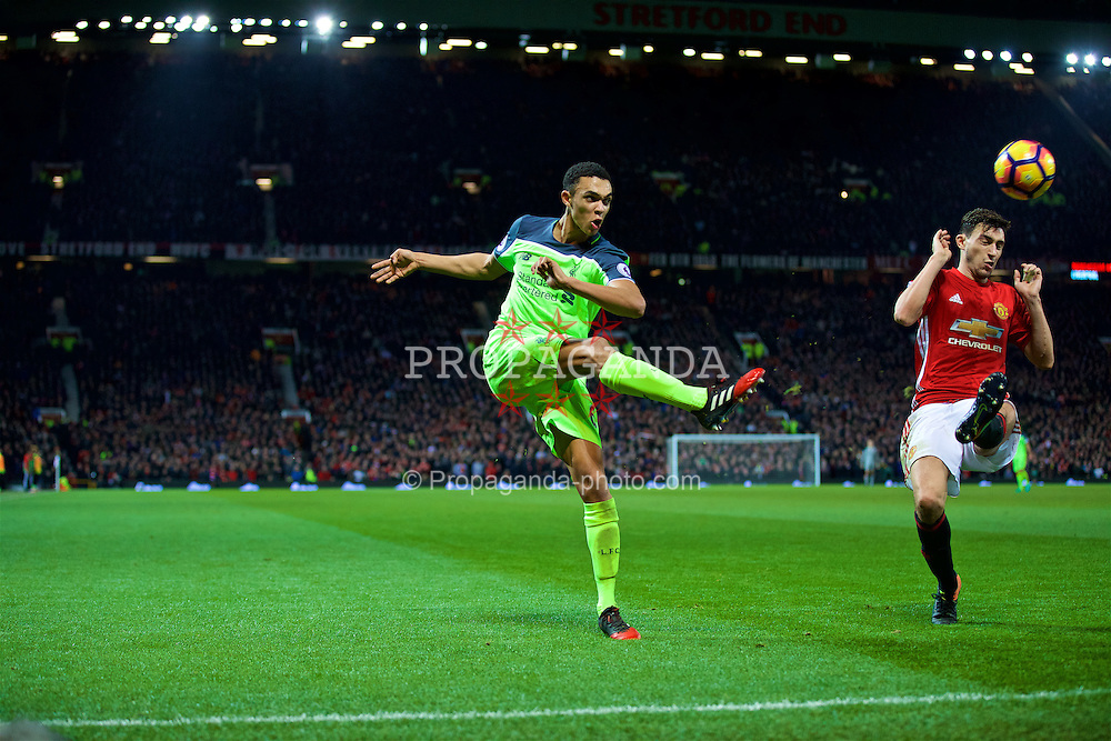 MANCHESTER, ENGLAND - Sunday, January 15, 2017: Liverpool's Trent Alexander-Arnold in action against Manchester United during the FA Premier League match at Old Trafford. (Pic by David Rawcliffe/Propaganda)