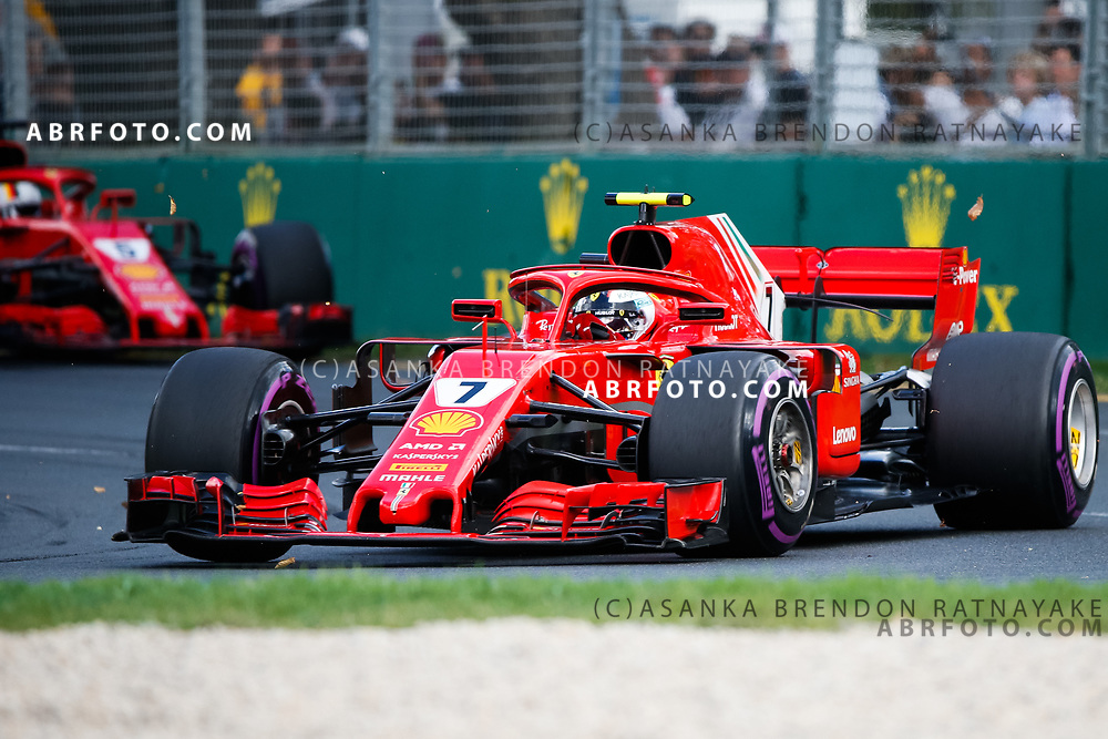 Ferrari driver Kimi Raikkonen of Finland during the 2018 Rolex Formula 1 Australian Grand Prix at Albert Park, Melbourne, Australia, March 24, 2018.  Asanka Brendon Ratnayake