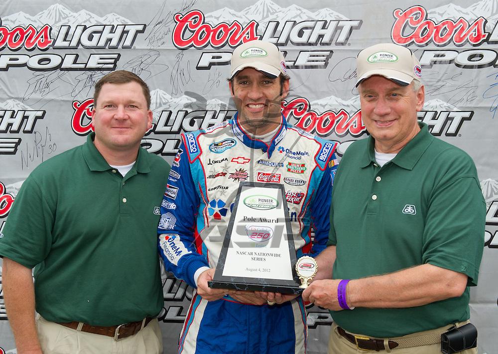 NEWTON, IA - July 04, 2012: Elliot Sadler (2) wins the Coors Light Pole Award for the U.S. Cellular 250 race at Iowa Speedway in Newton, IA.