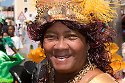 Colourful dressed woman. Carnival. Mindelo. Cabo Verde. Africa.