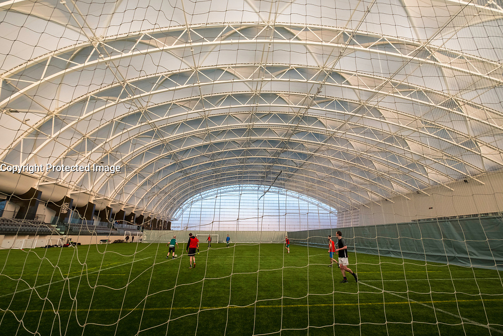 Interior of football pitch at Oriam National Sports Centre at Heriot Watt University in Edinburgh