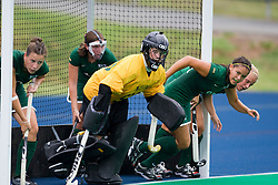 August 29, 2008 - CHARLOTTESVILLE, VA -  William and Mary Tribe goalkeeper Carrie Thompson (50) and her team prepare for a UVA short corner.  The Virginia Cavaliers field hockey team defeated the William and Mary Tribe 5-0 on the University Hall Turf Field on the Grounds of the University of Virginia in Charlottesville, VA.