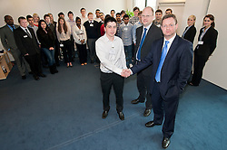"Grant Thornton Business Awareness James Boreman of Silverdale School with The Grant Thornton ""Dragons"" Jamie Preston senior Tax Manager and Paul Houghton Partner..http://www.pauldaviddrabble.co.uk.4 April 2012 .Image © Paul David Drabble"