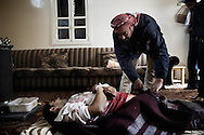 SYRIA - Al Qsair. A Syrian man shot dead by a Syrian Army's sniper  in Al Qsair, on January 29,  2012. Al Qsair is a small town of 40000 inhabitants, located 25Km south-west of Homs. The town is besieged since the beginning of November and so far it counts 65 dead.