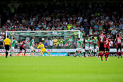 Bournemouth's Richard Hughes scores from a free kick in the 35th minute - Photo mandatory by-line: Dougie Allward/Josephmeredith.com  - Tel: Mobile:07966 386802 08/09/2012 - SPORT - FOOTBALL - League 1 -  Yeovil  - Huish Park -  Yeovil Town v AFC Bournemouth