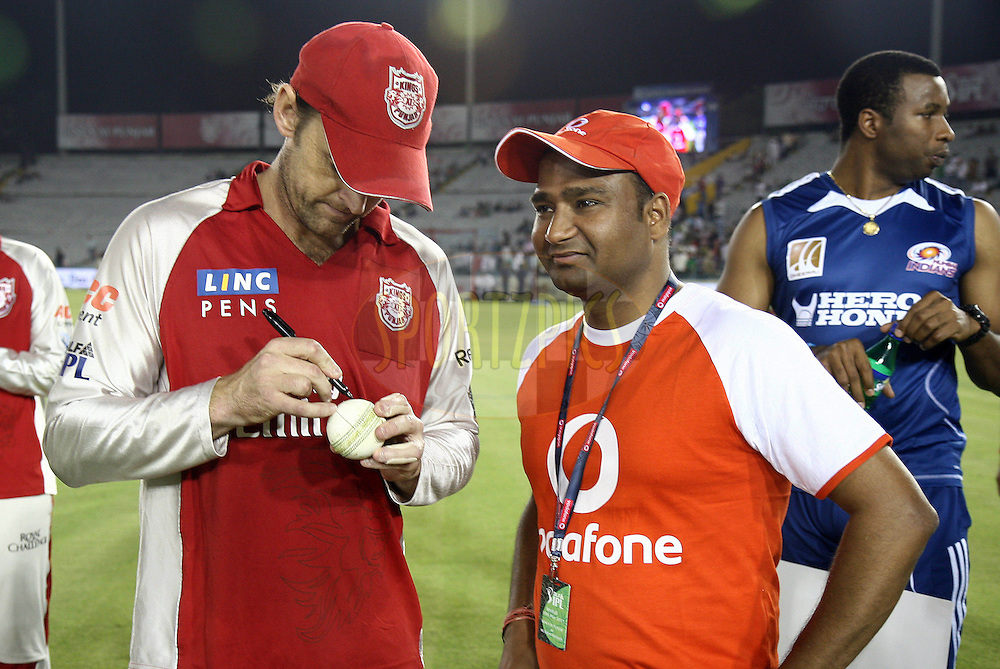 Kings XI Punjab captain Adam Gilchrist with star of the match during match 54 of the Indian Premier League ( IPL ) Season 4 between the Kings XI Punjab and the Mumbai Indians held at the PCA stadium in Mohali, Chandigarh, India on the 10th May 2011..Photo by Money Sharma/BCCI/SPORTZPICS