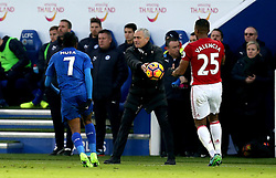 Manchester United manager Jose Mourinho hands the ball to Luis Antonio Valencia of Manchester United to take a quick thro in - Mandatory by-line: Robbie Stephenson/JMP - 05/02/2017 - FOOTBALL - King Power Stadium - Leicester, England - Leicester City v Manchester United - Premier League
