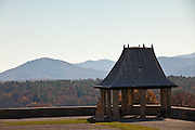 View of the mountains and Tea House at the Biltmore Estate privately owned by the Vanderbilt family in Asheville, NC. The house is the largest private home in America with over 250 rooms.