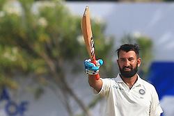 July 26, 2017 - Galle, Sri Lanka - Indian cricketer Cheteshwar Pujara celebrates after scoring 100 runs(a century) during the 1st Day's play in the 1st Test match  (Credit Image: © Tharaka Basnayaka/NurPhoto via ZUMA Press)