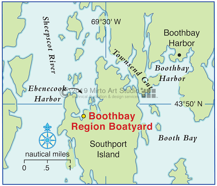 Vector map of Boothbay, Maine marina