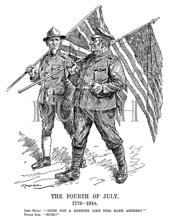 "The Fourth of July. 1776-1918. John Bull: ""'Doth not a meeting like this make amends?'"" Uncle Sam: ""Sure!"" (John Bull and Uncle Sam swap their national flags on American Independence Day during WW1)"