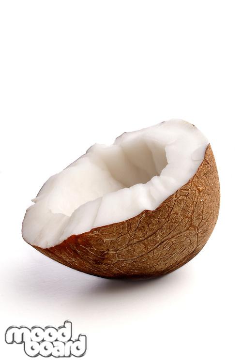 Studio shot of halved coconut