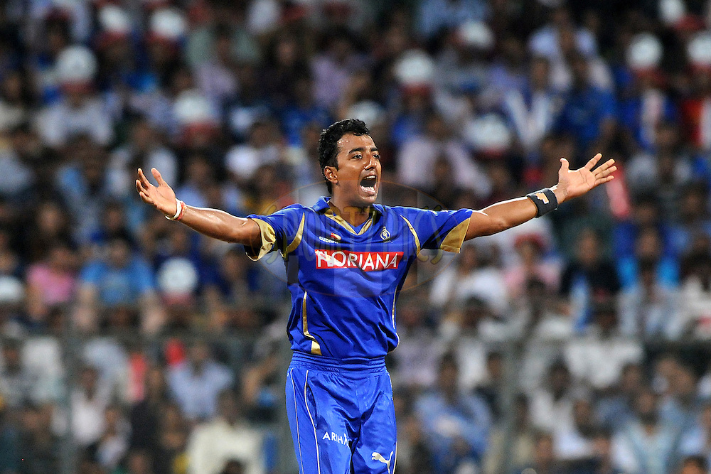 Ankeet Chavan of Rajasthan Royals appeals unsuccessfully during match 66 of the Indian Premier League ( IPL ) Season 4 between the Mumbai Indians and the Rajasthan Royals held at the Wankhede Stadium, Mumbai, India on the 20th May 2011..Photo by PalPillai/BCCI/SPORTZPICS.