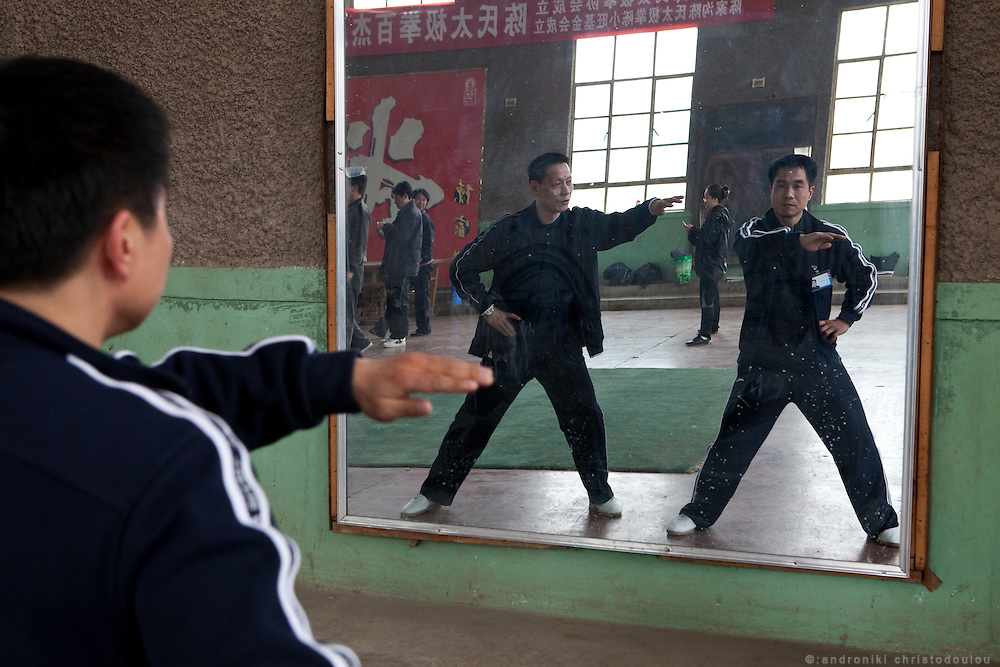 Chinese teachers practicing during a breack at a seminar taught by Grandmaster Chen Xiaowang in Chenjiagou Taijiquan School.
