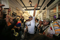 3 June 2017 - UEFA Champions League Final - Juventus v Real Madrid - Real Madrid fans sing and chant in a small shopping arcade - Photo: Marc Atkins / Offside.