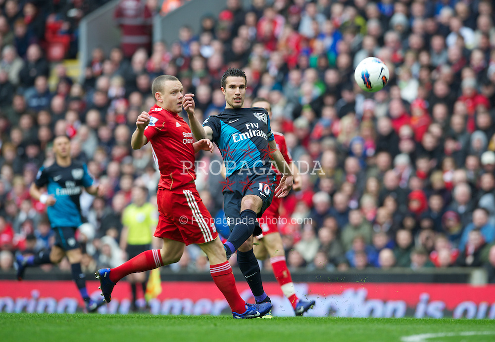 LIVERPOOL, ENGLAND - Saturday, March 3, 2012: Liverpool's Jay Spearing in action against Arsenal's Robin Van Persie during the Premiership match at Anfield. (Pic by David Rawcliffe/Propaganda)