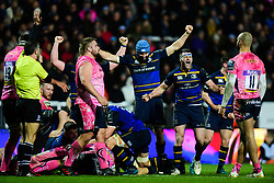 Scott Fardy of Leinster Rugby and Fergus McFadden of Leinster Rugby celebrate Jack Conan of Leinster Rugby try  - Mandatory by-line: Alex Davidson/JMP - 10/12/2017 - RUGBY - Sandy Park Stadium - Exeter, England - Exeter Chiefs v Leinster Rugby - European Rugby Champions Cup