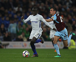 Jack Cork of Burnley (R) and Ngolo Kante of Chelsea in action - Mandatory by-line: Jack Phillips/JMP - 19/04/2018 - FOOTBALL - Turf Moor - Burnley, England - Burnley v Chelsea - English Premier League