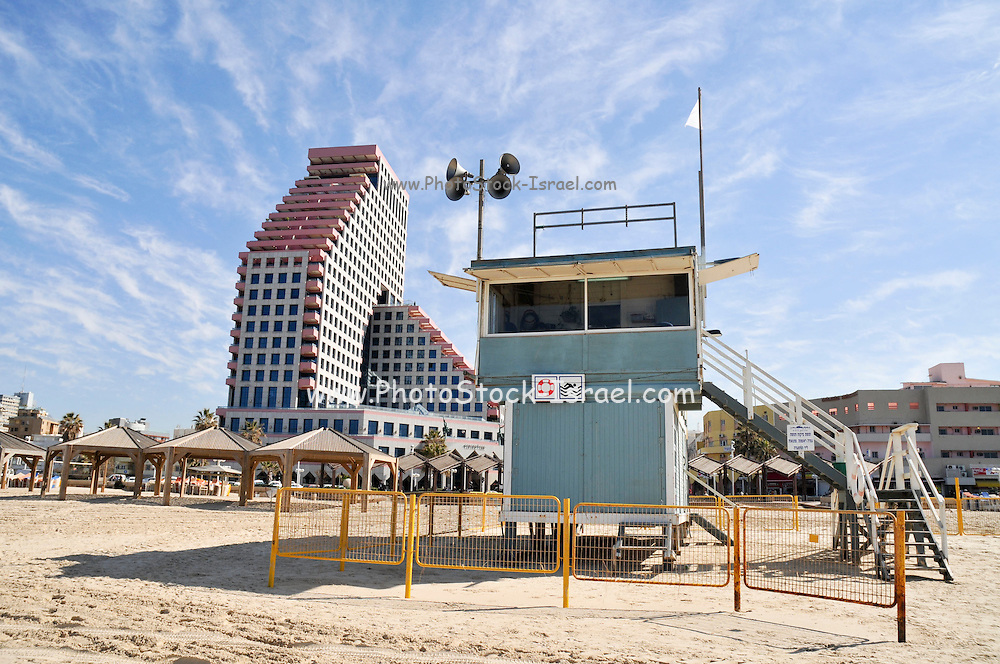 Tel Aviv skyline and coast Lifeguard station in the foreground and the Opera tower in the background