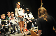 Elliot Schott, center, of Boyertown Junior High School spells a word during the Scripps Regional Spelling Bee at Penn Central Middle School Saturday March 12, 2016 in Perkasie, Pennsylvania. (Photo by William Thomas Cain)