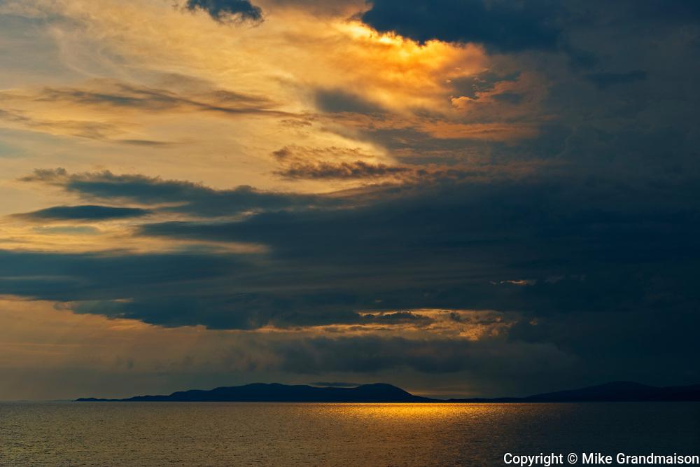 Storm light on Lake Superior at sunset<br />Marathon<br />Ontario<br />Canada