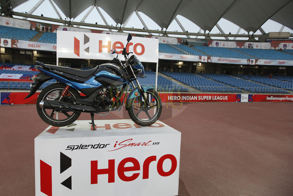 Hero splendor bike display during match 17 of the Indian Super League (ISL) season 3 between Delhi Dynamos FC and Mumbai City FC held at the Jawaharlal Nehru Stadium in Delhi, India on the 18th October 2016.<br /> <br /> Photo by Arjun Singh / ISL/ SPORTZPICS