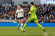 Rianna Dean closes down Manuela Zinsberger during the FA Women's Super League match between Tottenham Hotspur Women and Arsenal Women FC at Tottenham Hotspur Stadium, London, United Kingdom on 17 November 2019.