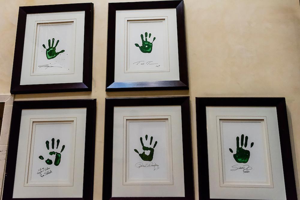 Handprints of celebrities including Tina Turner, Tom Selleck, Oprah Winfrey and Sidney Poitier, Saxon Hotel, Johannesburg, South Africa.