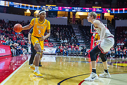 NORMAL, IL - February 15: Donovan Clay works the perimeter defended by Taylor Bruninga during a college basketball game between the ISU Redbirds and the Valparaiso Crusaders on February 15 2020 at Redbird Arena in Normal, IL. (Photo by Alan Look)