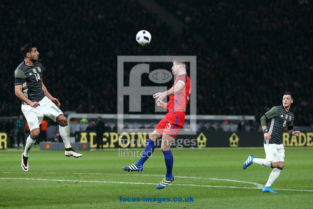 Gary Cahill of England wins a header during the International Friendly match at Olympiastadion Berlin, Charlottenburg-Wilmersdo<br /> Picture by Paul Chesterton/Focus Images Ltd +44 7904 640267<br /> 26/03/2016